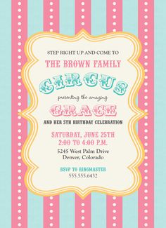 Circus Celebration Birthday Girl Invitation by theteacookie, $15.00