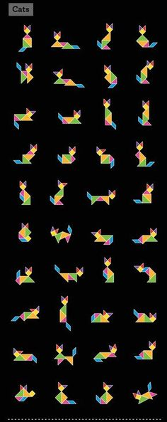 Tangrams are not for sissies! This site has tons of tangram patterns for animals, people, etc. Print out a few to inspire great geometry play! multi-walls360-tangrams-06