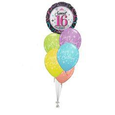Tros Folie/Latex High-Float Ballonnen 16e Verjaardag