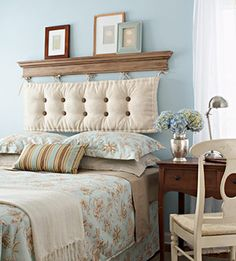 Very clean look- I like it! You could have two different pillow backs to switch out for the season- warm and cold.--- Great idea for guest bedroom!