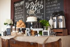 coffee and donut bar at a baby shower