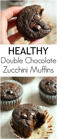 Chocolate muffins get a healthy makeover! Made with whole wheat flour and no butter or refined sugars. You're going to love these perfectly moist, insanely delicious muffins!