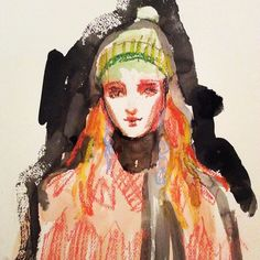 Pastel ink and watercolour mash up- @gucci FW16 by lucymacleodillustration