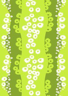 Päivänkakkara, green by Marjatta Metsovaara Finland Chris Haughton, Patrick Heron, Papel Scrapbook, Hexagon Quilt, Marimekko, Textile Artists, Colour Schemes, Spoonflower, Different Colors
