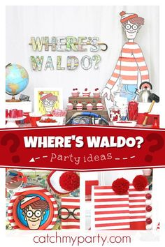 """Where's Waldo / Birthday """"""""Where's Andrew? Getting Ready For His Birthday Party! 6th Birthday Parties, Boy Birthday, Wo Ist Walter, Trunk Party, Happy Birthday Minions, Geek Party, Wheres Waldo, Party Time, Minion Pumpkin"""