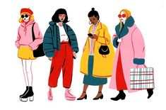 A few spot illustrations for We're illustration lovers here. Are you an aspiring graphic designer? Feed your design hunger at Referential Treatment. See more 2019 illustrations, drawings, doodles, sketches, and the like on this board. Art And Illustration, People Illustration, Character Illustration, Magazine Illustration, Fashion Art, Fast Fashion, Style Fashion, Illustrator, Guache