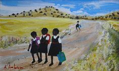 "South African Artist Katherine Ambrose ""Home from School"".art to display South African Artists, African American Art, Art Portfolio, Naive, Black Art, Art School, Love Art, Dream Homes, February"