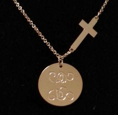 Engraved Disc with Side Cross Necklace
