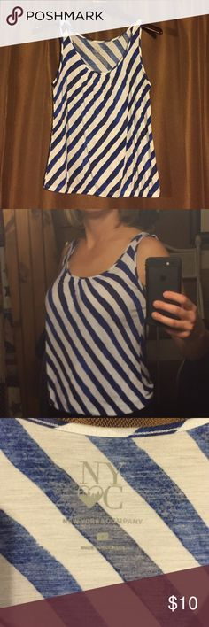 White and blue striped tank This flowy tank from New York & Co. is a great summer top! Light and comfy. Blue stripes are bright cobalt blue with patches of more navy blue. Elastic bottom. New York & Company Tops Tank Tops