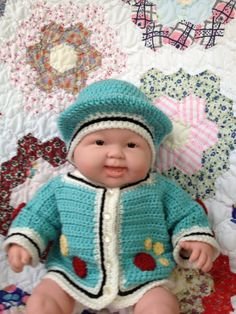 Teal Baby BOY SWEATER JACKET and Scally Cap 6 M by lisaswick, $35.00
