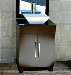 """24"""" Bathroom Vanity Cabinet Black Granite Stone Top Glass Vessel Sink Faucet CMS #Niersi"""
