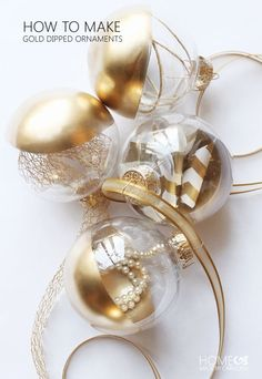 How to make gold dipped ornaments for $1 !!!