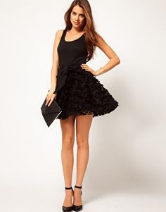ASOS Party Dress with Rose Skater Skirt