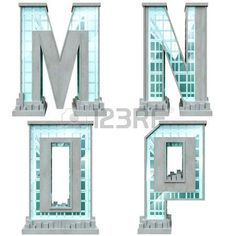 Alphabet in the form of urban buildings. Letter m, n, o, p. photo