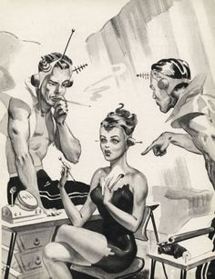 So this is the business lunch you just HAD to get to? We need to talk! - Science Fiction, retro, etc - Pop Art Vintage, Vintage Space, Comics Illustration, Illustrations, Arte Do Pulp Fiction, Arte Punk, Space Girl, Space Age, Atomic Age