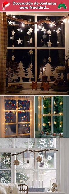 Decoración navideña. Decoración de ventanas para Navidad. Ventanas navideñas.