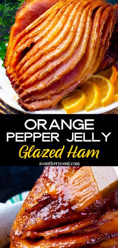 Baked ham slathered with a sticky, sweet, and savory glaze will be the center of attention on your holiday table! Turn any meal into a celebration with this easy recipe for Orange and Red Pepper Jelly Glazed Ham and watch the rave reviews come in Easy To Make Appetizers, Easy Food To Make, Holiday Recipes, Great Recipes, Delicious Recipes, Pork Dishes, Tasty Dishes, Pound Cake Recipes, Pork Recipes