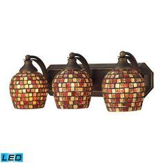ELK Lighting Bath Spa 3 Light LED Vanity In Aged Bronze Multi Fusion Glass