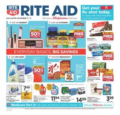 Need medicine or refill prescriptions? Exploring sunday ad Rite Aid Weekly Ad Flyer November 11 – 17, 2018 and find a hundreds of valuable offers & sales each week. Ride Aid provides Medicine & Health, Beauty, Personal Care, Vitamins & Supplements, Sexual Health, Diet &... Protein Supplements, Natural Supplements, Nutritional Supplements, Grocery Ads, Pre Workout Supplement, Rite Aid, Promotional Design, Bodybuilding Supplements, Weekly Ads