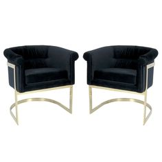 Pair of Brass Milo Baughman Lounge Chairs in Navy Velvet USA 1970's Pair of Navy Velvet Lounge Chairs by Milo Baughman for Thayer Coggin.