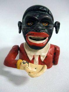 Vintage African Americana Cast Iron Bank -
