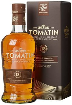 Tomatin Malt 18 Years Old mit Geschenkverpackung Whisky x l) Whiskey Label, Whiskey Cocktails, Wine Drinks, Alcoholic Drinks, Scotch Whisky, Whisky Bar, Peach Drinks, St Patricks Day Drinks, Strong Drinks