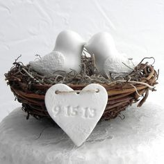rustic cake toppers | Rustic Wedding Cake Topper - White Love Birds in Nest - Personalized ...