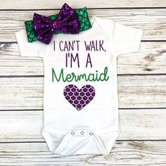 I Cant Walk Im a Mermaid Baby Girl Bodysuit Outfit Summer Baby Girl Clothes baby Bodysuit girl Mermaid outfit Summer Walk Girls Summer Outfits, Summer Girls, Girl Outfits, Outfit Summer, Summer Baby, Newborn Outfits, Summer Time, Casual Styles, Body Suit Outfits