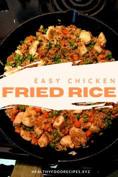 Easy & Delicious Chicken Fried Rice Recipe you must try at home Chicken Fried Rice Chinese, Chicken Fried Rice Recipe Easy, Chicken Fried Cauliflower Rice, Chicken And Rice Dishes, Chicken Rice Recipes, Easy Rice Recipes, Vegetarian Rice Recipes, Vegetable Recipes, Fried Rice Calories