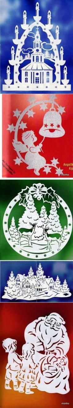 бумажные работы | Фотографии и советы на Постиле Christmas Projects, Christmas Holidays, Christmas Crafts, Christmas Ornaments, Kirigami, Paper Cutting, Christmas Stencils, Creative Box, Woodworking Patterns