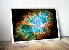 Outer Space Astronomy Art Print Crab Nebula by DareToDreamPrints