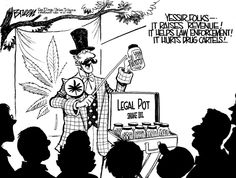 I agree with the meaning(s); legalizing marijuana would essentially kill drug cartels because illegal, smuggled weed would no longer be needed if it was legally available. It seems fair enough, except for the fact that carnies are usually seen as dishonest and untrustworthy, so to use one isn't the best idea. It seems to condense a lot of points together sufficiently.