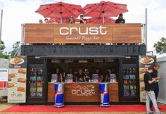 Crust gourmet pizza bar built by price and speed with modified containers. shipping containers were used to create the stall. Container Bar, Container Coffee Shop, Container Design, Shipping Container Restaurant, Shipping Container Buildings, Shipping Container Homes, Shipping Containers, Kiosk Design, Kiosk
