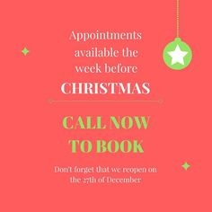 We have had some new appointments become available in the week before Christmas. First in best dressed!  Call 53418333 to book.