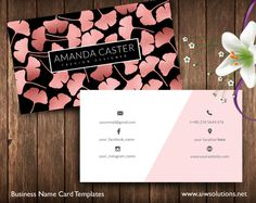 Rose Gold Ginkgo Leaves name card by @Graphicsauthor