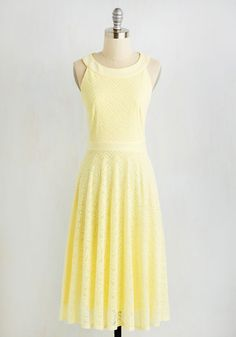 Ooh La Pergola Dress. Under the flower arch, the honeysuckle yellow hue of your feminine A-line glows with great delight. #yellow #modcloth