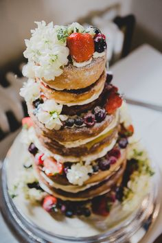 Naked Cake Sponge Layer Berries Flowers Fruit Icing Soft Navy Pink Classic Wedding http://www.racheljoycephotography.co.uk/