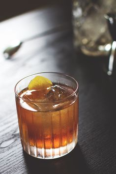 old fashioned w/ rye whiskey, angostura bitters, sugar cube, seltzer & lemon peel garnish Classic Cocktails, Fun Cocktails, Party Drinks, Summer Drinks, Cocktail Drinks, Fun Drinks, Cocktail Recipes, Alcoholic Drinks, Beverages