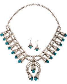 M & S Turquoise Squash Blossom Turquoise Necklace & Earrings Set
