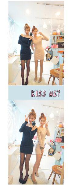 性感一字领修身连衣裙 - c h u u : ) 韩国女装网店chuu中文官网, I know you want to kiss me♥