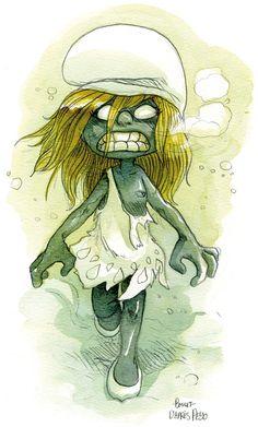 Zombie Smurfette By Boulet Zombie Drawings, Creepy Drawings, Dark Art Drawings, Disney Horror, Zombie Disney, Arte Zombie, Zombie Art, Zombie Cartoon, Cartoon Art