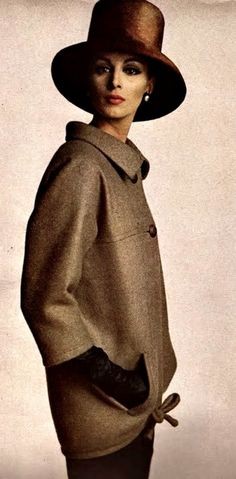 Yves Saint Laurent - Vogue September 1962...~ I love the stovepipe reference of this hat ~