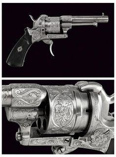 An engraved pinfire revolver originating from France, mid 19th century.