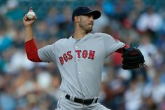 SEATTLE, WA - AUGUST 03: Starting pitcher Rick Porcello #22 of the Boston Red Sox pitches against the Seattle Mariners in the first inning at…