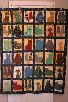 paper pieced cat quilt