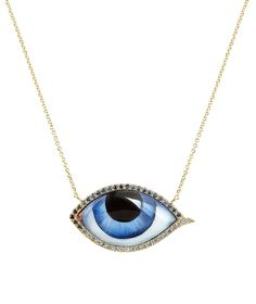 Gold Blue Eye Sapphire Necklace by Lito jewelry