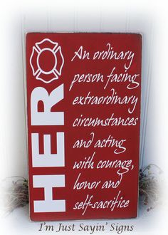Hero Wood Sign for firefighters by ImJustSayinSigns on Etsy Firefighter Crafts, Firefighter Paramedic, Firefighter Love, Firefighter Quotes, Volunteer Firefighter, Firefighters Wife, Firemen, Fire Department, Fire Dept