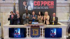 cast of Coppers from BBC America opens wall street