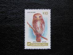 Owl postage stamp Chili.