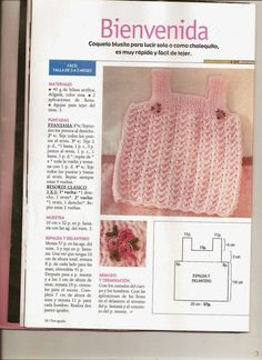 butterflycreaciones / fanaticadel tejido: revista dos agujas Diy Crochet Cardigan, Baby Cardigan Knitting Pattern Free, Crochet Yoke, Knitted Baby Cardigan, Baby Knitting Patterns, Diy Crafts Knitting, Diy Crafts Crochet, Knitting For Kids, Knit Baby Dress